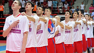 Serbia lining up for the national anthem