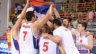 Serbia celebrate after winning the bronze medal