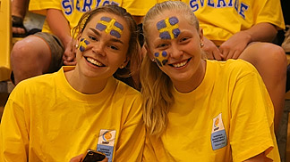 Swedish fans at the First Round game between Sweden and Italy