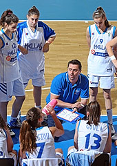 Greece head coach Evripidis Meletiadis during a time-out
