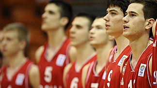Serbia before their Second Round game against Bosnia and Herzegovina