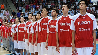 Turkey lining up for the national anthem