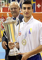 Bosnia and Herzegovina captain Marko Rikalo with the trophy