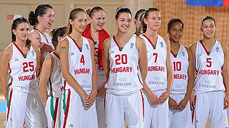 Hungary's players listen as their fans sing the Hungarian national anthem