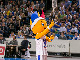 EuroBasket mascot Frenkie cleans the backboard during Game 4 of the Estonian League Finals