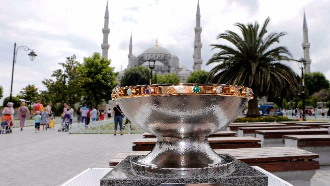 The EuroBasket  2015 Trophy in front of the Blue Mosque, Istanbul