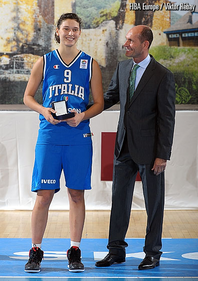 Ivan Bodrogvary presents the MVP award to Italy's Cecilia Zandalasini