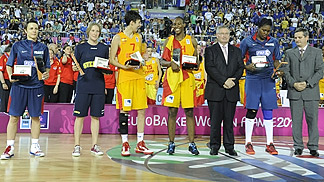 EuroBasket Women 2013 All Tournament Team: Celine Dumerc (FRA), Frida Eldebrink (SWE), Alba Torrens (ESP), Sancho Lyttle (ESP), Isabelle Yacoubou (FRA)