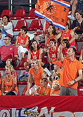 Dutch and Spanish fans in the stands of Generali Arena