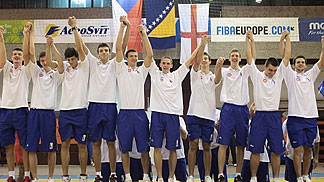 Bosnia and Herzegovina players celebrating on the podium