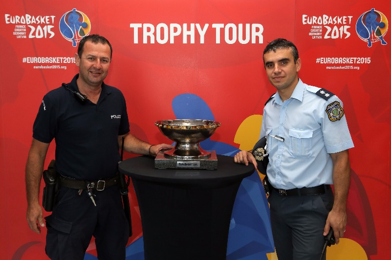 The EuroBasket 2015 Trophy is well-guarded