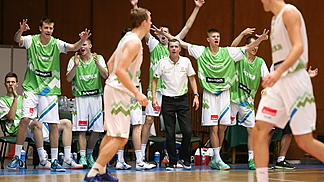 Slovenia celebrate a three-pointer