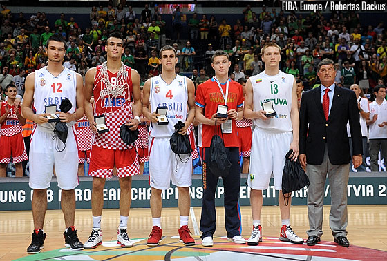 The All Tournament Team Nikola Jankovic (Serbia), Dario Saric (Croatia), Nikola Radicevic (Serbia), Mikhail Kulagin (Russia) and  Marius Grigonis (Lithuania)