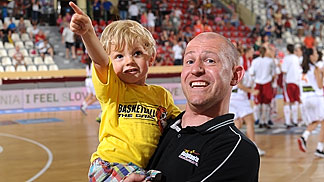 Belgium head coach Arvid Diels with his son