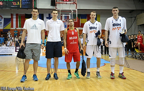 The U20 Men Div. B 2014 All-Tournament Team: Vladyslav Koreniuk (Ukraine); Maksim Salash (Belarus); Emmanuel Lecomte (Belgium); Adin Vrabac (Bosnia and Herzegovina); Jusuf Nurkic (Bosnia and Herzegovina)