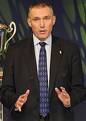 FIBA Europe Secretary General Kamil Novak speaking at the Youth Championship Draw